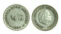 pci1366) NETHERLANDS ANTILLES ANTILLE OLANDESI 1/4 GULDEN silver 1954