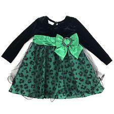 Bonnie Jean 24 Months Green Black Velvet Cheetah Leopard Print Tulle Dress Fancy