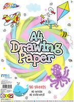 80 Fogli A4 Pastello Colorato Carta Bianca Primario Colore Bambini Disegno Craft