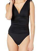 La Blanca Womens Swimwear Black Size 4 Ruched Plunge Tie-Strap Swimsuit $119 787