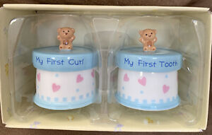 BABY FIRST CURL/FIRST TOOTH KEEPSAKE TRINKET BOXES TEDDY BEAR SUPER CUTE!!