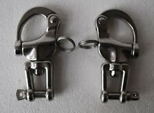 "Pair of 3 1/2"" small 316 stainless steel snap shackles with safety closures"