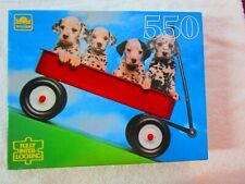 """VTG Golden 550 Piece Jigsaw Puzzle Dalmatian Pups in a Red Wagon 18"""" x 15.5"""""""