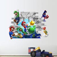 Super Mario Wall Sticker Kids Boys Room 3D Mural Wall Decal Cartoon Vinyl Decor