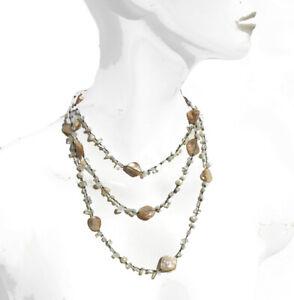 Kette 50x Mondstein 5x Perlen geknotet teilweise 5 Reihen bläulich MermaidCollec
