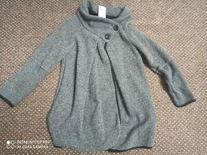 Women's Italian Knit Lagenlook Button Collar Ladies Cardigan Coat Coatigan Grey