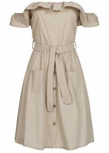 EG19026139 Damen Violet Kleid kurz Off Shoulder Button Dress beige