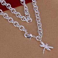 ASAMO Damen Halskette mit Anhänger Libelle 925 Sterling Silber plattiert HA1253