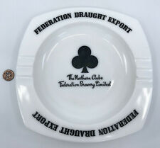 Ashtray Milk Glass 8.5in Northern Clubs Federation Brewery UK 1980s Beer Ad Vtg