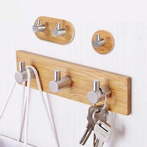 Wood Wall Stainless Steel Hooks Mount Hanger Cloth Kitchen Bathroom Holder Rack
