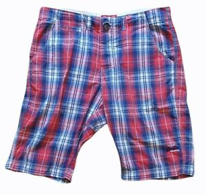 superdry mens checked board shorts motorbike goods by superdry japan red size l
