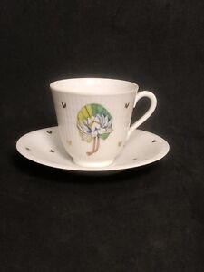 Rorstrand Porcelain Sweden Demitasse Espresso Tea Cup Saucer Floral Design