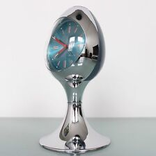 CLOCK Mantel Alarm BLESSING RETRO TOP! Vintage CHROME Germany Pedestal Space Age