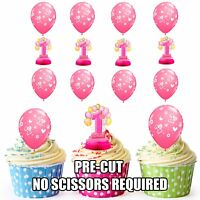 PRECUT Girls 1st Birthday 12 Edible Cupcake Toppers Cake Decorations
