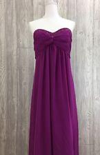 David's Bridal Sz 14 Dress Bridesmaid Prom Purple Sheer Beaded Strapless Formal[