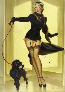 Retro Gil Elvgren Pinup Girl A3 size 29.7x42cm Canvas Art Print Poster Unframed