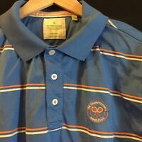 Wimbledon The Championships Men's Blue Sz L S/S Polo Shirt Striped Orange