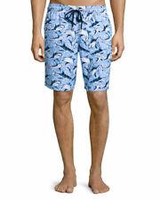 NEW $280 Vilebrequin Okoa Long-Length Swim Trunks Shorts Blue Sharks Print XL/L
