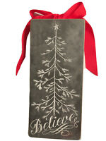"""'BELIEVE' Christmas Tree Box Wall Sign, PRIMITIVES by Kathy Phillips, 4.5"""" x 10"""""""