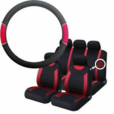 Red & Black Steering Wheel & Seat Cover set for Volvo 240 All Models