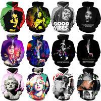 Women/Men Michael Jackson Bob Marley 3D Print Casual Hoodie Sweatshirt Pullover