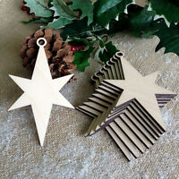 Wooden CHRISTMAS STAR Shapes Hanging Tree Blank Decorations Craft Gift Tag x 10