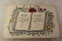 Antique Reward of Merit - Hand Colored - Poem in Book