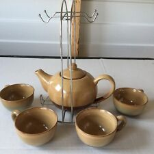 Ceramic Tea Set W/Four Cups & Matching Teapot And Metal Hanging Rack Tan Brown