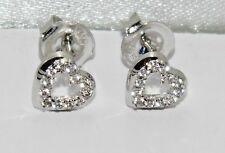 9ct White Gold Diamond Heart Ladies Stud Earrings -