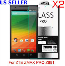 2X 9H Premium Tempered Glass Screen Protector Film For ZTE ZMAX PRO Z981 0.26MM