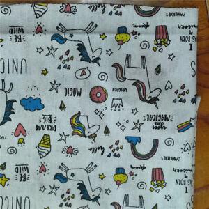 50x150cm Cotton Linen Fabric DIY Home Deco Fabric Print Unicorn Rainbow Heart