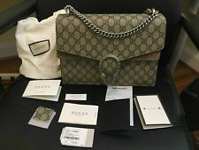 Authentic Gucci Dionysus GG Supreme Medium Shoulder Bag BeigeBrown