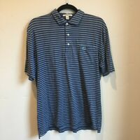 Peter Millar Tailored Fit Polo Shirt Mens Medium Blue Striped