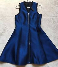 Tibi A-Line Flared Zipper Front Dress, Size 8, Sleeveless, Navy Blue, Shiny NWT!