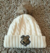 Harry Potter Hogwarts Crest Cream Cable Knit Bobble Hat Age 4-8 Years
