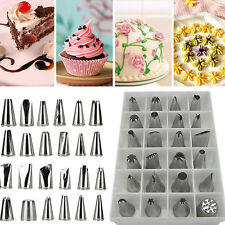 24Pcs Icing Piping Nozzles Pastry Tips Cake Sugarcraft Decorating Bakery Tool EN