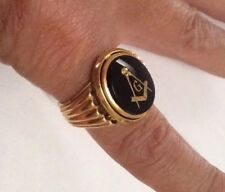 18k Gold Masonic Freemason Ring Onyx Solid Heavy 17.5 Grams Sz 9.5 Free Masons