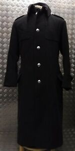 Genuine British Army Issued Melton Wool Greatcoat Long Coat Overdyed Black Goths