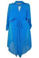 New Ladies Blue Cape Duster Coat Plus Size 16 - 26