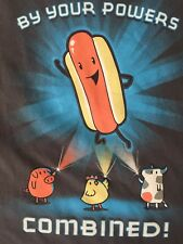 American Apparel BY YOUR POWERS COMBINED Hot Dog Pork, Chicken, Beef T-shirt  L