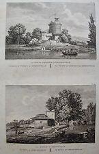 LA TOUR DE GABRIELLE  ERMENONVILLE ET LE MOULIN , LABORDE JARDINS FRANCE 1808.