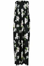 Womens Strapless Floral Maxi Dress Ladies Long Sheering Boob tube Bandeau Dress