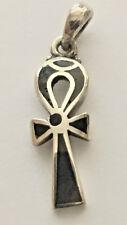 Ankh Silver Pendant inlaid with Lapis Lazuli (Hallmarked)(Small)