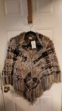 Nordstrom Chinchilla Shawl Wrap Cape Stole  With Fringe NWT Orig $695 Must See