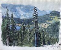 Karl Adser *1912 Norwegen Landschaft mit Bergen, Wald und Wasser
