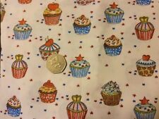 fat quarter cotton poplin with decorated cupcakes and stars on white