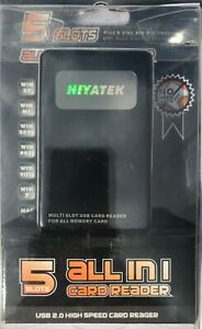 HIYATEK 5 Slots All In 1 USB 2.0 HIGH SPEED CARD READER for All Memory Card- NEW