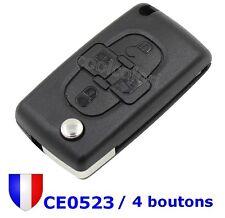 Coque Clé Plip Télécommande 4 Boutons Lame VA2 sans Rainure CE0523 pour Peugeot