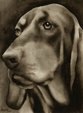 Black and Tan Coonhound Art Print Sepia Watercolor Painting by Artist Djr