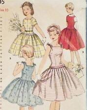 Girls 1 Piece Dress Sun Dress Jumper Sewing Pattern 1950s Size 10 Retro Vintage